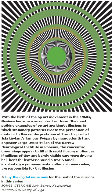 Illusion - Notice the perceived motion around the green circles.